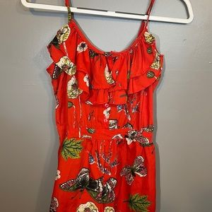 Red Floral Ruffled Romper